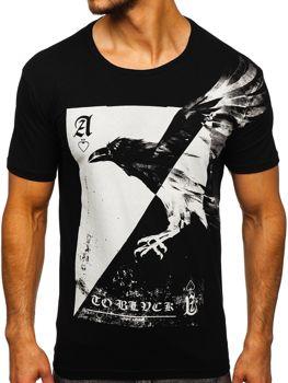 T-shirt męski z nadrukiem czarny Bolf 181210