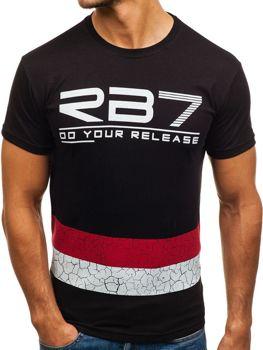 T-shirt męski z nadrukiem czarny Denley 0008