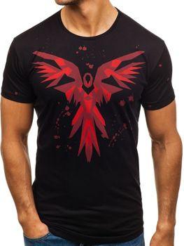 T-shirt męski z nadrukiem czarny Denley 300