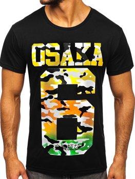 T-shirt męski z nadrukiem czarny Denley KS1958