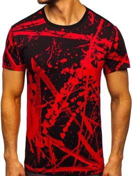 T-shirt męski z nadrukiem czerwony Denley 100788-1