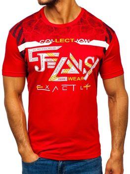 T-shirt męski z nadrukiem czerwony Denley 14226