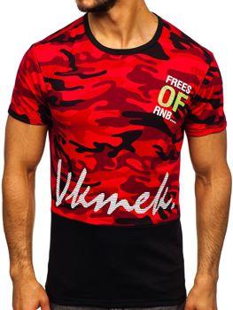 T-shirt męski z nadrukiem czerwony Denley SS10978