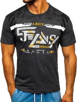 T-shirt męski z nadrukiem grafitowy Denley 14227
