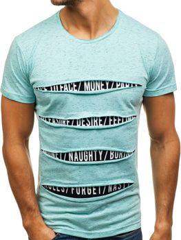 T-shirt męski z nadrukiem jasnozielony Denley 1881