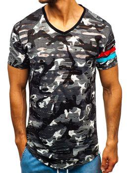 T-shirt męski z nadrukiem moro-szary Denley 309