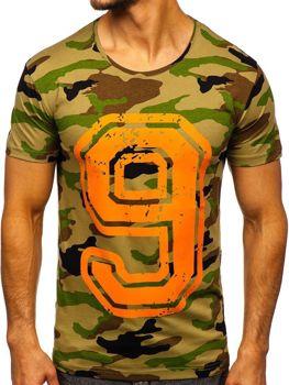 T-shirt męski z nadrukiem multikolor Denley 2101C