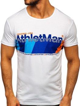 T-shirt męski z nadrukiem niebieski Denley SS10905