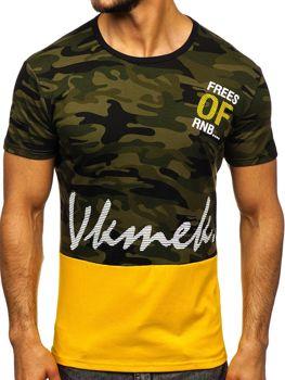 T-shirt męski z nadrukiem zielony Denley SS10978