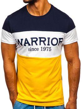 T-shirt męski z nadrukiem żółty Denley 100693