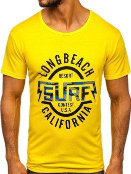 T-shirt męski z nadrukiem żółty Denley KS2031