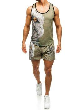 Zestaw plażowy męski: koszulka plażowa + spodenki kąpielowe zielono-granatowy Denley  2117