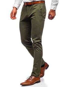 Zielone spodnie chinosy męskie Denley 1143