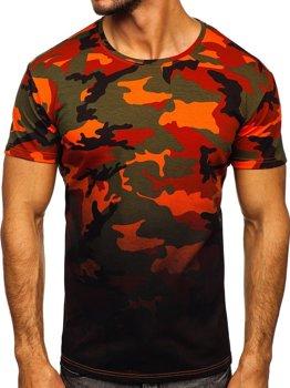 Zielono-pomarańczowy t-shirt męski z nadrukiem moro Denley S808