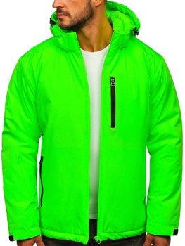 Zielony-neon narciarska kurtka męska zimowa sportowa Denley HH011