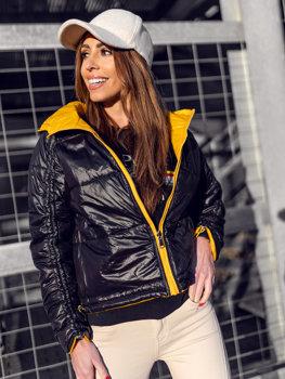 Żółta dwustronna pikowana kurtka damska przejściowa z kapturem Denley B9553
