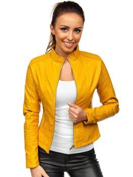 Żółta kurtka skórzana damska Denley B12