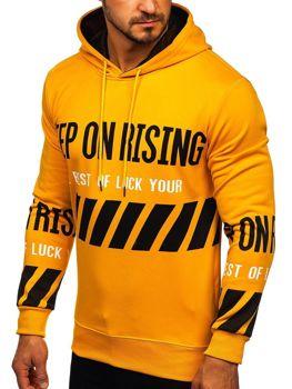 Żółta z nadrukiem bluza męska z kapturem Denley HL8915