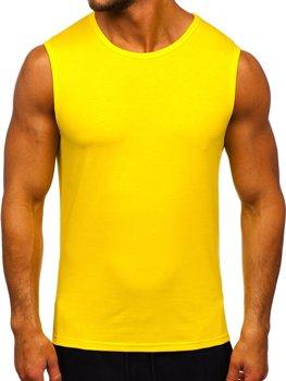 Żółty-neon koszulka tank top bez nadruku Denley 99001