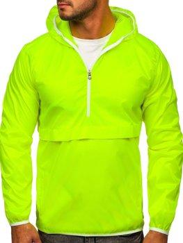 Żółty-neon przejściowa kurtka męska sportowa anorak z kapturem BOLF 5061