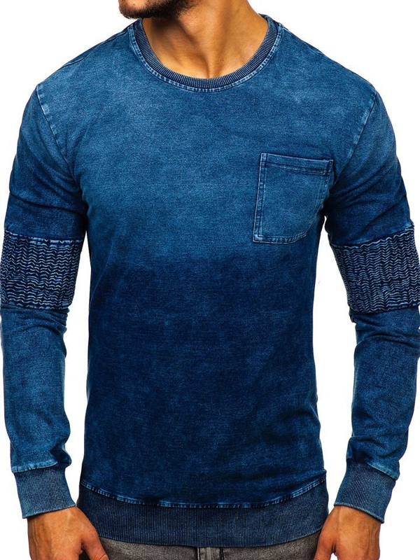 Bluza męska bez kaptura niebieska Denley KK1029