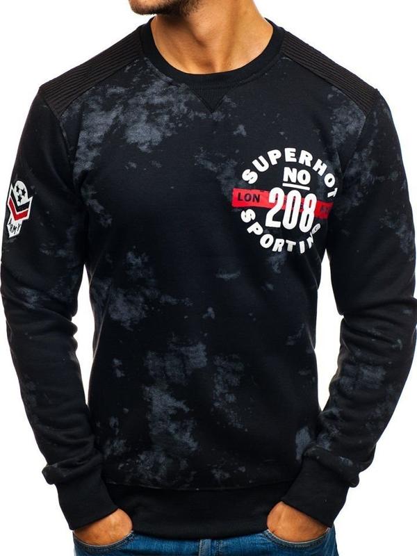 Bluza męska bez kaptura z nadrukiem czarna Denley DD251