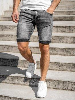 Czarne jeansowe krótkie spodenki męskie Denley KG3806