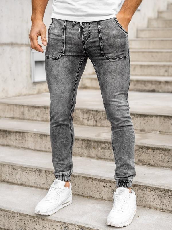 Czarne spodnie jeansowe joggery męskie Denley KA1860-1