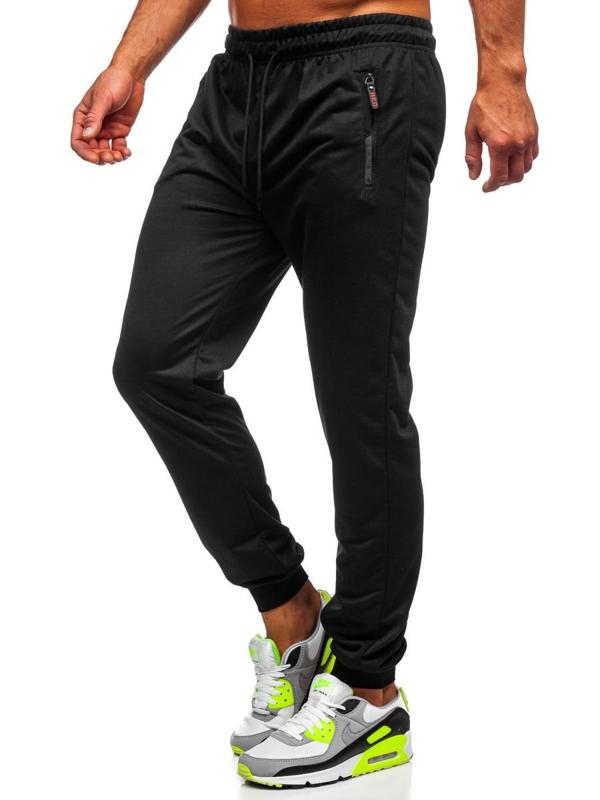 Czarne spodnie męskie dresowe Denley CE008