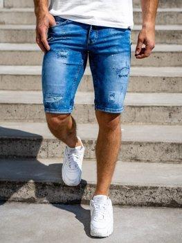 Granatowe jeansowe krótkie spodenki męskie Denley 3005