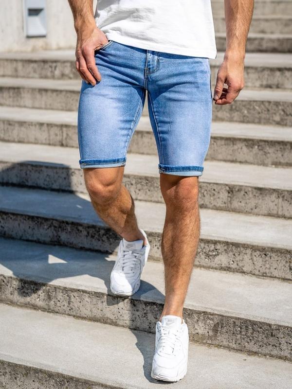 Granatowe jeansowe krótkie spodenki męskie Denley KG3763