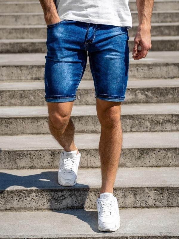 Granatowe jeansowe krótkie spodenki męskie Denley KG3770