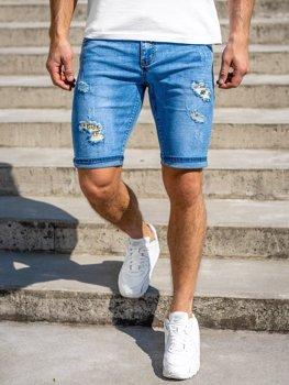Granatowe jeansowe krótkie spodenki męskie Denley KG3802