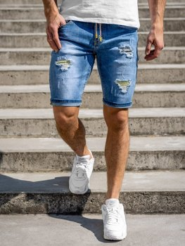 Granatowe jeansowe krótkie spodenki męskie Denley KG3813
