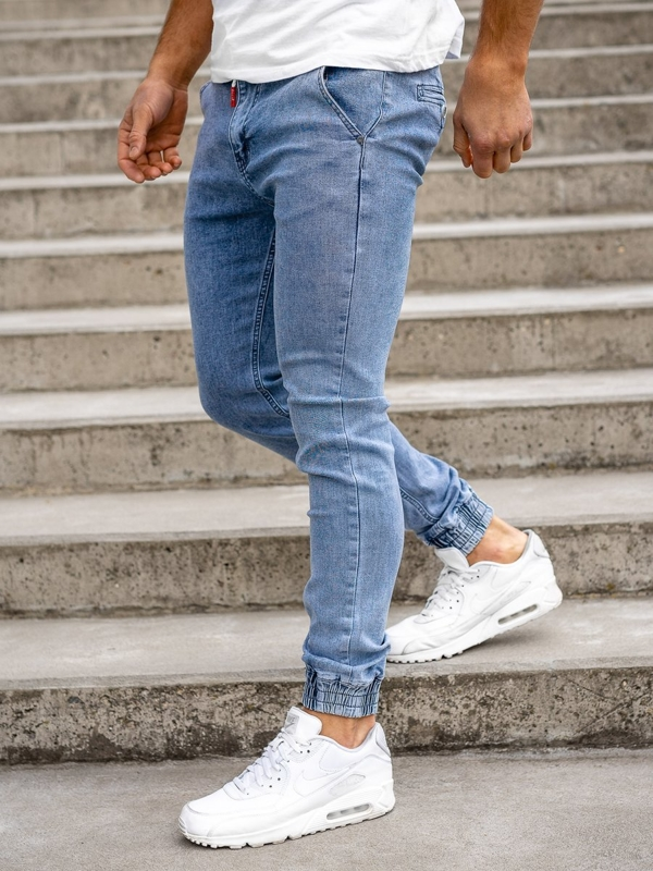 Granatowe spodnie jeansowe joggery męskie Denley KA1628