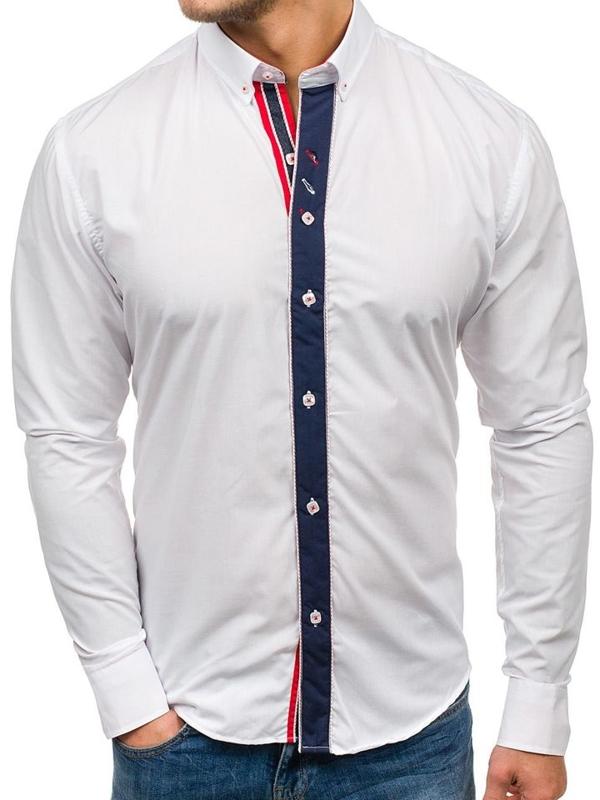 Koszula męska elegancka z długim rękawem biała Bolf 5827