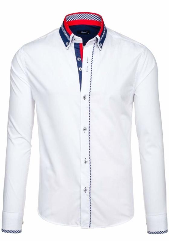 Koszula męska elegancka z długim rękawem biała Bolf 6874