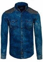 Koszula męska jeansowa we wzory z długim rękawem granatowo-szara Denley 0517