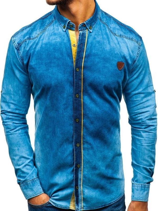 Koszula męska jeansowa z długim rękawem niebieska Denley RL15