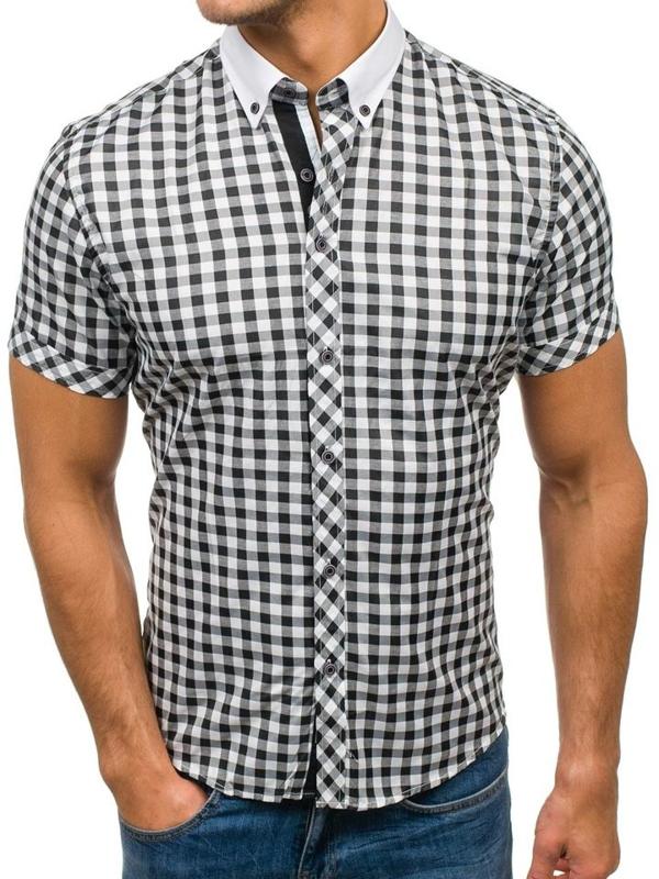 Koszula męska w kratę z krótkim rękawem czarno-biała Denley 5207