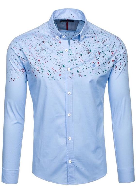 Koszula męska we wzory z długim rękawem błękitna Denley 1588