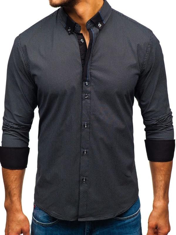 Koszula męska we wzory z długim rękawem czarna Bolf 8844D