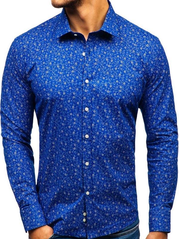 Koszula męska we wzory z długim rękawem niebieska 201G64