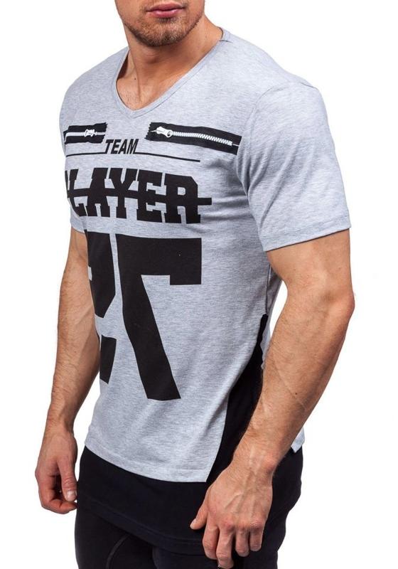Koszulka męska z nadrukiem w serek szara Denley 3584