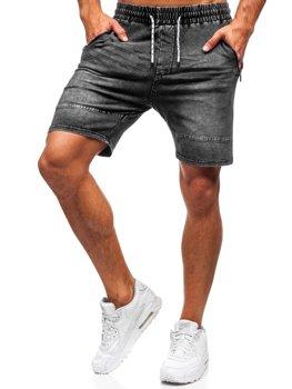 Krótkie spodenki jeansowe męskie grafitowe Denley KK103