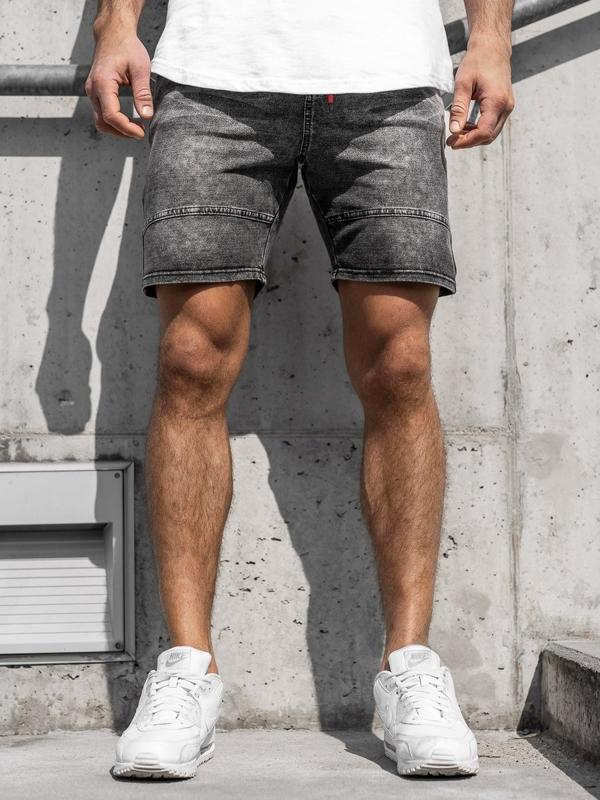 Krótkie spodenki jeansowe męskie grafitowe Denley KK105
