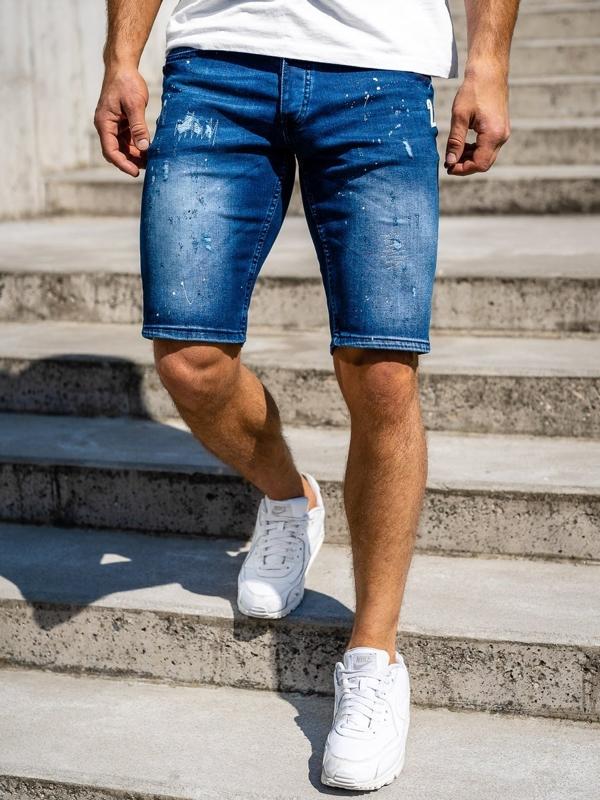 Krótkie spodenki jeansowe męskie granatowe Denley 3000