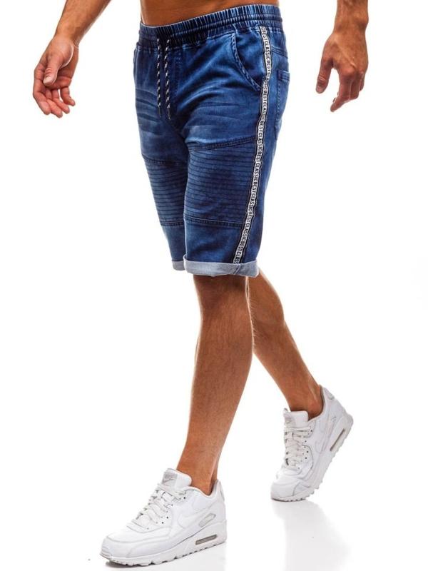 Krótkie spodenki jeansowe męskie granatowe Denley HY190