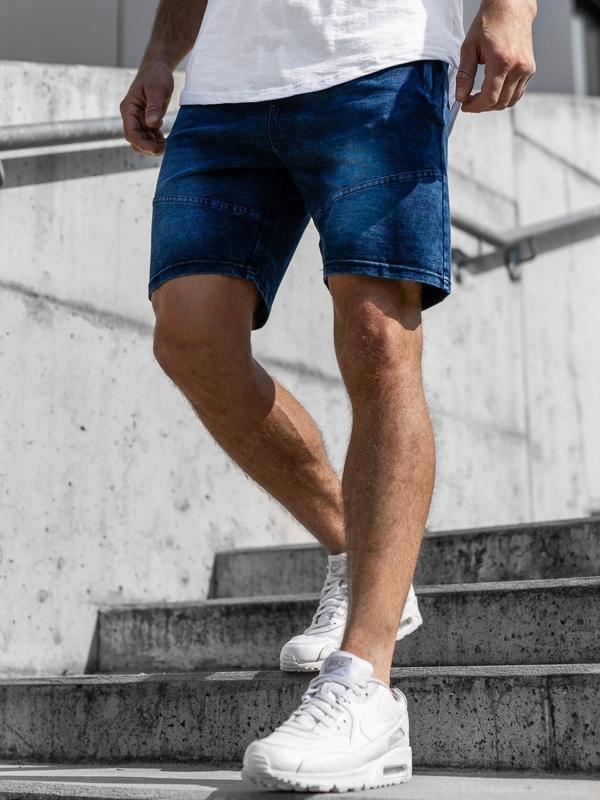 Krótkie spodenki jeansowe męskie granatowe Denley KK108