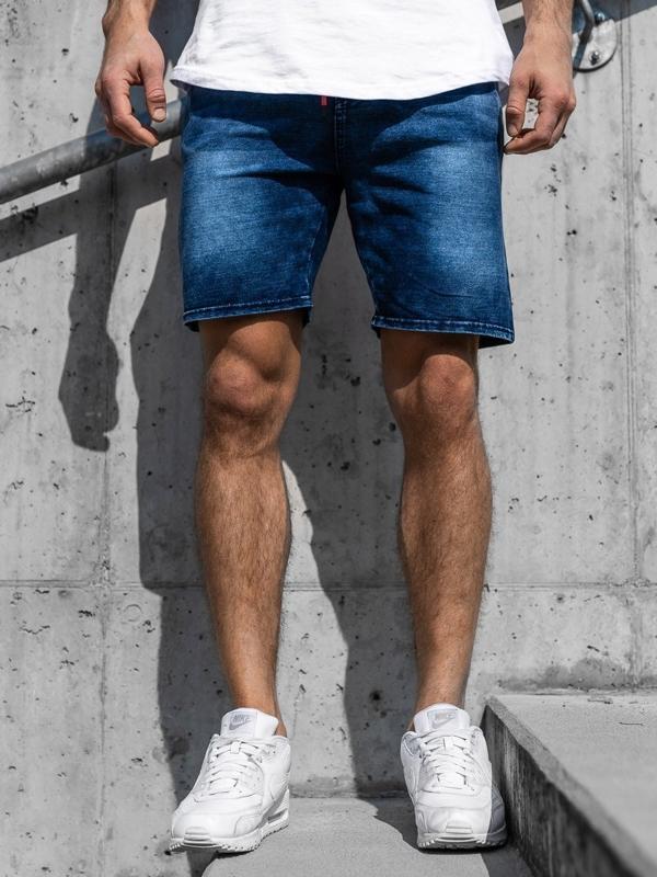 Krótkie spodenki jeansowe męskie granatowe Denley KK109